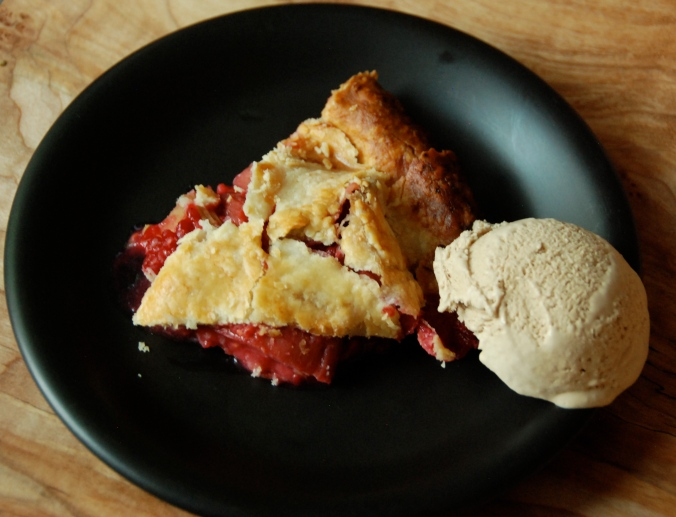 Raspberry rhubarb pie and coffee ice cream
