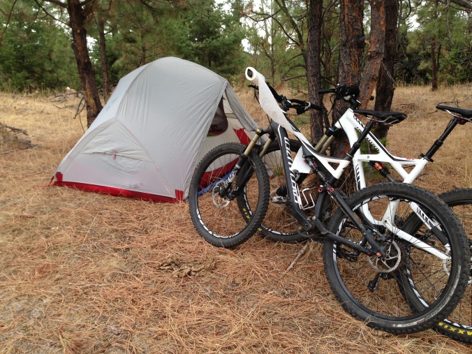 tent and bikes camping outside Merritt