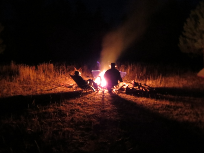 fire at night, camping