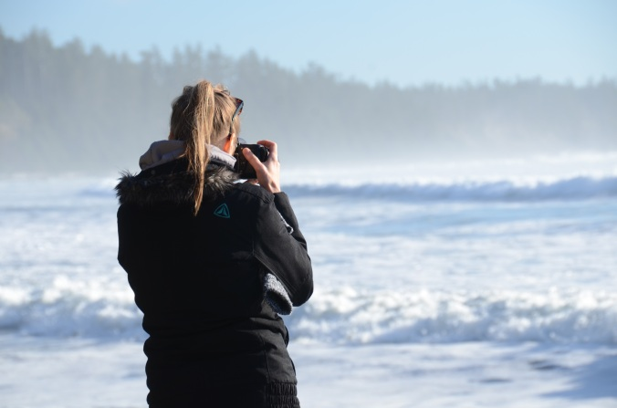 Taking photos of waves at Florencia Beach, Tofino