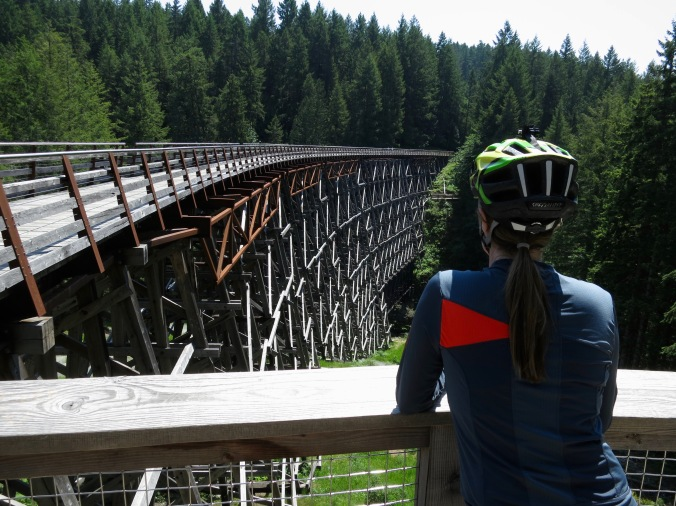 riding across kinsol trestle bridge