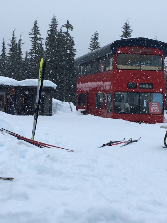 Red bus at Alexander Falls Touring Centre